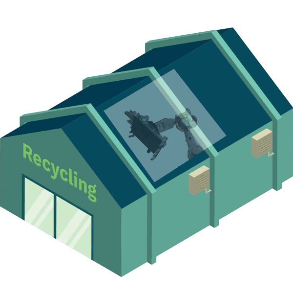 regional recycling facility with FPD robot